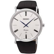 seiko men s premier black leather watch product code skp395p1