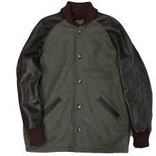 skoo letterman jacket surcoat melton wool hunter x leather sleeve brown