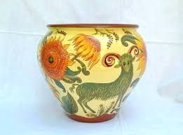 large outdoor ceramic pots for plants glazed painting art artist pot sunflowers majolica spray pain