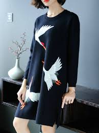 Black Casual Embroidered Crew Neck Spandex Sweater Dress
