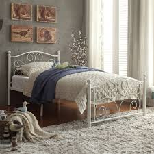 Twin Platform Bed White Metal Headboard Frame Girls Princess Bedroom