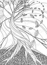 Drawing Pages Dead Tree Autumn Zentangle Adult Coloring Page Gift Wall Art Line