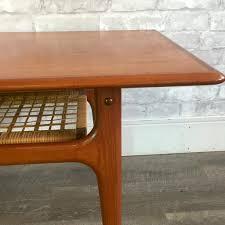 teak coffee table. Compact Mid-Century Danish Teak Coffee Table With Cane Shelf By Trioh