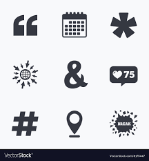 Quote Asterisk Footnote Icons Hashtag Symbol Vector Image On Vectorstock