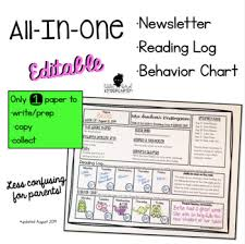 Log Chart Template All In One Newsletter Reading Log Behavior Chart Editable Template