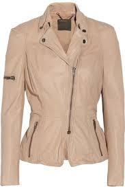 muubaa women s lyra leather and cotton jersey biker jacket