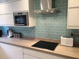 Of Kitchen Tiles Oak Worktop With Sage Green Metro Tiles K I T C H E N