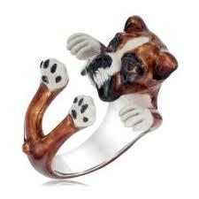 dog fever boxer enamel hug ring
