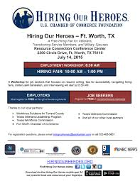 hiring our heroes pre job fair employment workshop fort worth a workshop for job seekers that focuses on resume wirting tips for successfully navigating hiring fairs military skill translation and interviewing