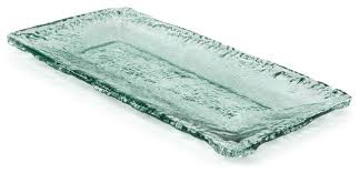100 recycled glass textured medium rectangle platter