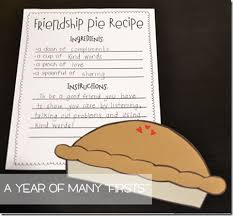 friendship recipe template. After reading Enemy Pie have your students write a Friendship Pie