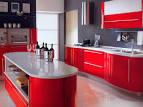 Интерьер кухни красный с белым