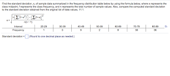 find the standard deviation s of sle data summarized in the frequency distribution table