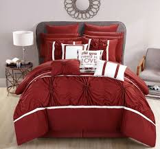 chic home 16 piece ashville fl pinch pleat ruffled designer embellished king bed in a bag comforter set grey queen red cs2768 an