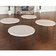 lifetime 60 round table 4 pack almond beige indoor