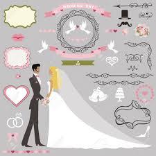 Cartoon Wedding Invitation Cards Designs Wedding Invitation Card Decor Set Cartoon Couple Bride And Groom Swirling