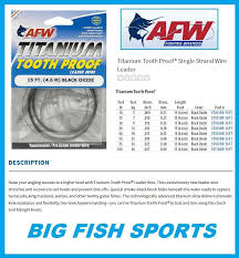Afw Leader Sleeves Size Chart Details About Afw Tooth Proof Titanium Leader Single Strand Wire 20lb Test New Sti020b 15ft