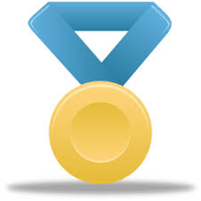 Gold Icon Metal Medal Award Blue