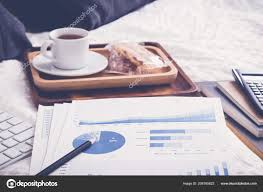 Office Tea Chart Blue Summary Chart Financial Graphs Paperwork Wrinked Duvet