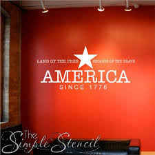 land of the free home of the brave patriotic vinyl wall art decor on patriotic vinyl wall art with show your support with patriotic wall art from simple stencil