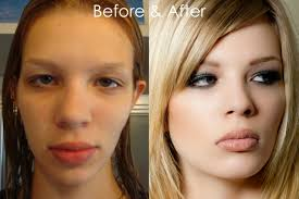 before and after makeup on model charr