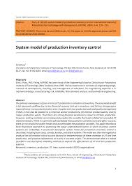 A Human Resource Inventory Is Designed To Reveal Whether Pdf System Model Of Production Inventory Control