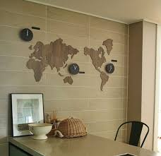 picture of world map clock diy decoration kit