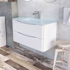 erin 900 wall mounted vanity unit gloss white white glass basin easy bathrooms