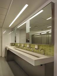 large public bathroom. excellent large mirrored with green tiles backspalsh white commercial trough sink stainless taps as well cool ceiling bathroom lighting design ideas public u