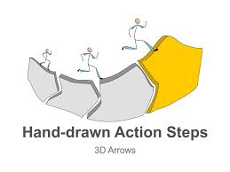 3d Flow Chart Powerpoint 3d Arrows Step Hand Drawn