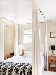 Curtain canopy hung on ceiling above bed #CanopyBackyardRomantic ...