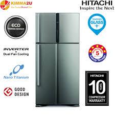 hitachi refrigerator inverter. hitachi japan rv710p3mx 601l inverter touch control 2-door refrigerator hitachi refrigerator inverter