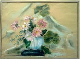 ORIGINAL 1978 MYRTLE CARLSON SIGNED PASTEL STILL LIFE FLOWERS VASE DAISY  MUMS   #1784790463