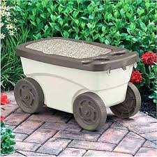 garden scooter seat tool rolling gardening stool cart storage planting scoot n do