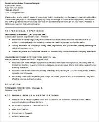 Example Of Construction Resume Construction Worker Resume Example Resume Sample