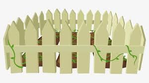 plant grass tree fence around garden
