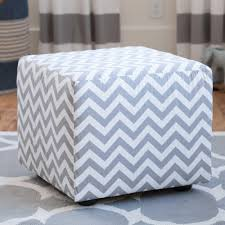 white and gray zig zag cube ottoman  carousel designs