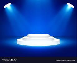 Blue Stage Lighting Stage Podium With Lighting Stage Podium Scene