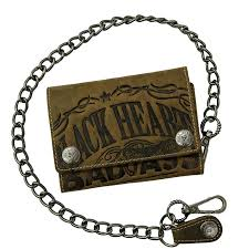 jacks inn 54 leather wallet with chain black bourbon vodka brown