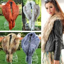 whole chinese faux rac fur collar women for fur coat leather jacket 2016 winter faux fox fur scarf neck warmer brown black color fur wear fur mitten