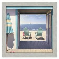 beach framed wall art with chairs