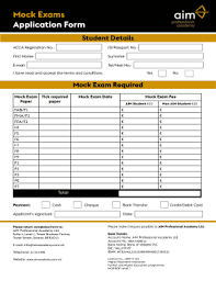 Mock Application Form Fillable Online Mock Exams Application Form Aim Academy