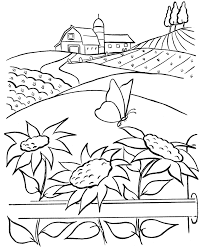 Farm Life Coloring Pages Printable Farm Barn Sunflowers And A 18712