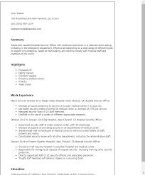 Resume Templates: Hospital Security Officer