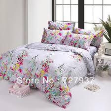 pink red purple blue eiffel tower calla flower cotton queen size duvet quilt doona cover dedding bed sets set sheet sheets bedroom comforter sets