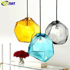 glass pendant light blue yellow smoke grey lamp for dinning room cafe bar modern indoor lighting pendant lamp yellow light lights