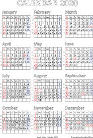 Calendar Yearly 2020 Calendar 2020 South Africa Free Printable Pdf