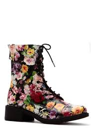 black flower garden faux leather lace up ankle boots