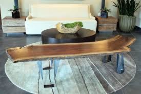 furniture astonishing wooden log tree branch plus round black coffee table also white sofa ideas