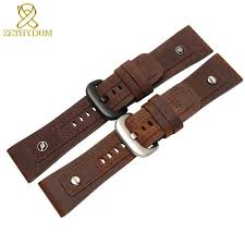 hot deal us 26 00 for genuine leather bracelet 28mm restoring leather watch strap for friday q2 with nail wrisches belt mens watchband